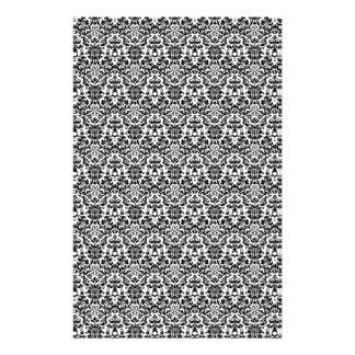 Papel blanco y negro del arte del damasco papelería