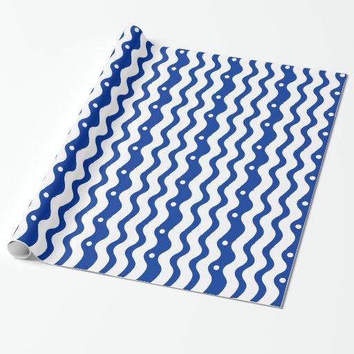 Papel clásico azul y blanco del regalo