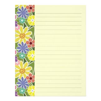Papel con membrete alineado brillante floral de la membretes personalizados