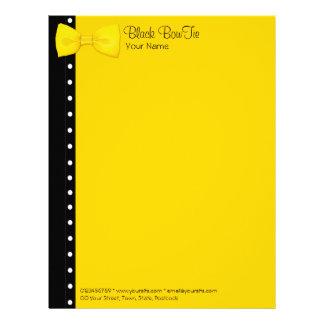 Papel con membrete amarillo de BowTie del limón Plantillas De Membrete