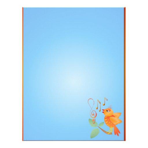 Papel con membrete anaranjado del pájaro del canto membrete a diseño