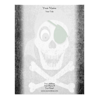Papel con membrete apenado cráneo del pirata plantilla de membrete