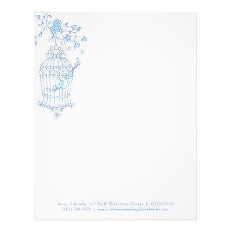 Papel con membrete azul de la jaula de pájaros de membretes personalizados