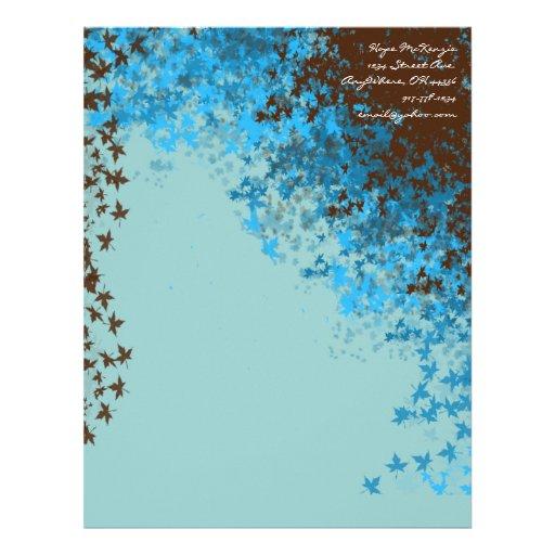 Papel con membrete azul de las hojas de Brown y de Membrete A Diseño