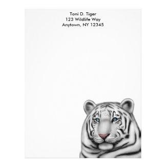 Papel con membrete blanco elegante del tigre plantilla de membrete