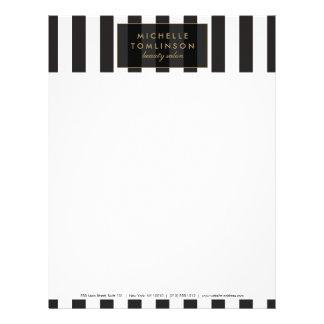 Papel con membrete blanco y negro de las rayas membretes personalizados