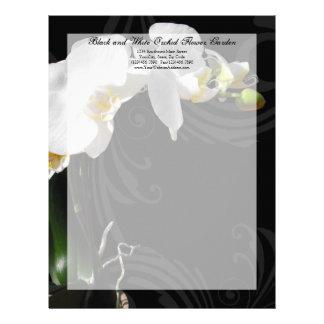 Papel con membrete blanco y negro del remolino de  membretes personalizados
