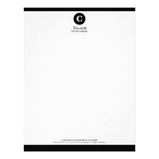Papel con membrete blanco y negro simple del monog membrete personalizado