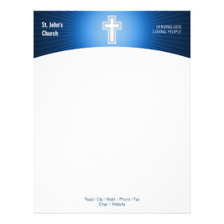 Papel con membrete cruzado cristiano del símbolo plantilla de membrete