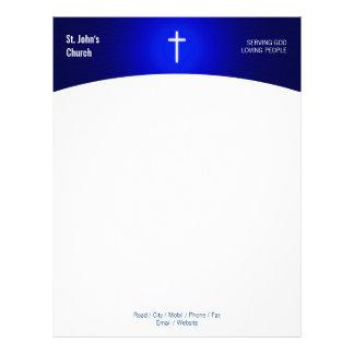 Papel con membrete cruzado cristiano del símbolo membretes personalizados
