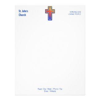 Papel con membrete cruzado cristiano del símbolo membrete