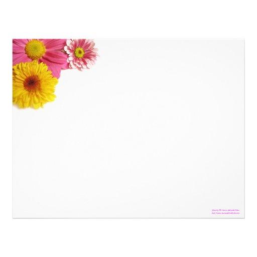 Papel con membrete de la esquina de la flor membretes personalizados