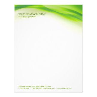 Papel con membrete de la onda verde membrete a diseño