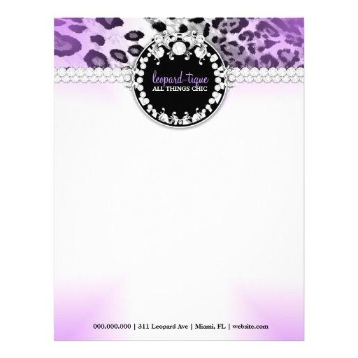Papel con membrete de la púrpura de 311 Leopardos- Membretes Personalizados