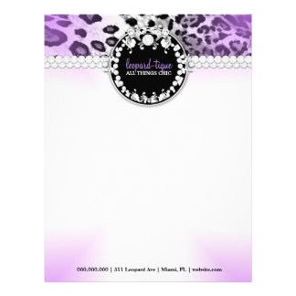 Papel con membrete de la púrpura de 311 Leopardos- Plantillas De Membrete