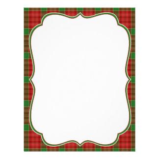 Papel con membrete de la tela escocesa del navidad plantilla de membrete