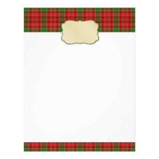 Papel con membrete de la tela escocesa del navidad membretes personalizados