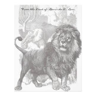 Papel con membrete de las ilustraciones del león d plantilla de membrete