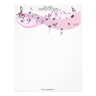 Papel con membrete de las notas musicales plantillas de membrete