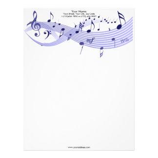 Papel con membrete de los azules de las notas musi plantilla de membrete
