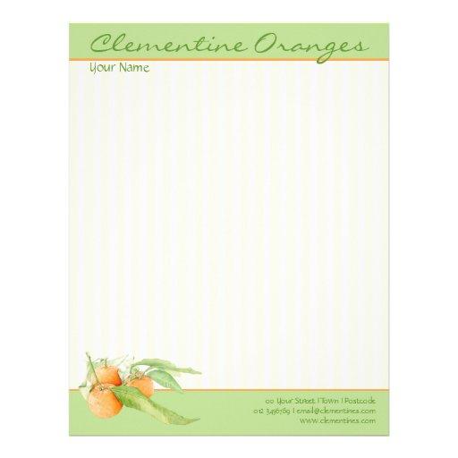 Papel con membrete de los naranjas de la clementin membrete personalizado