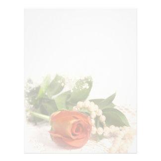 Papel con membrete de los rosas y de las perlas membrete personalizado