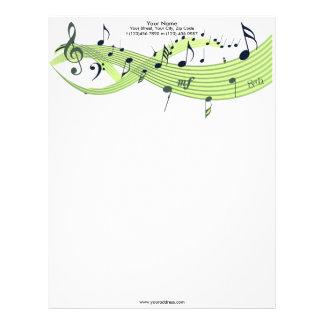 Papel con membrete de los verdes de las notas musi plantilla de membrete