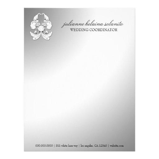 papel con membrete de lujo del diamante 311-Silver Plantillas De Membrete