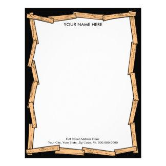 Papel con membrete de madera del tablón membretes personalizados
