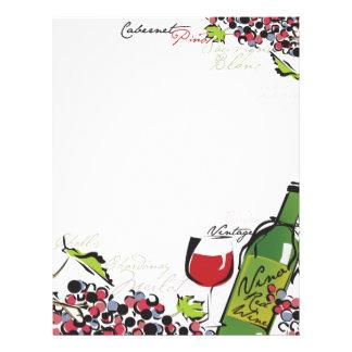 Papel con membrete del amante del vino plantillas de membrete