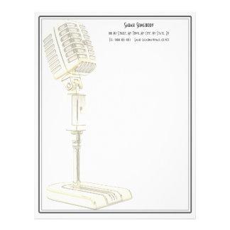 Papel con membrete del diseño del micrófono del plantillas de membrete