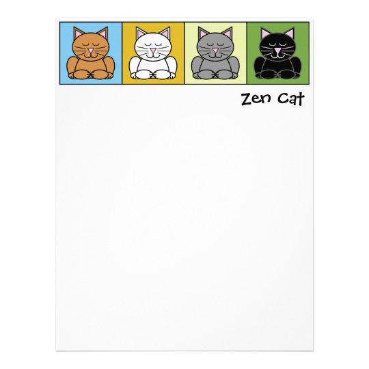Papel con membrete del gato del zen plantilla de membrete