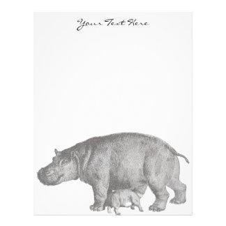 Papel con membrete del hipopótamo del vintage membrete