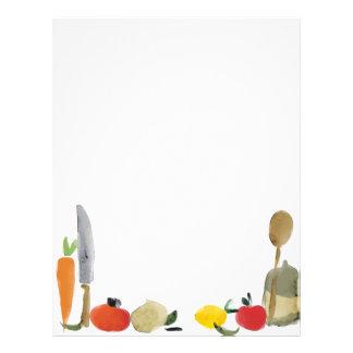 papel con membrete del menú de la receta de los ut membretes personalizados