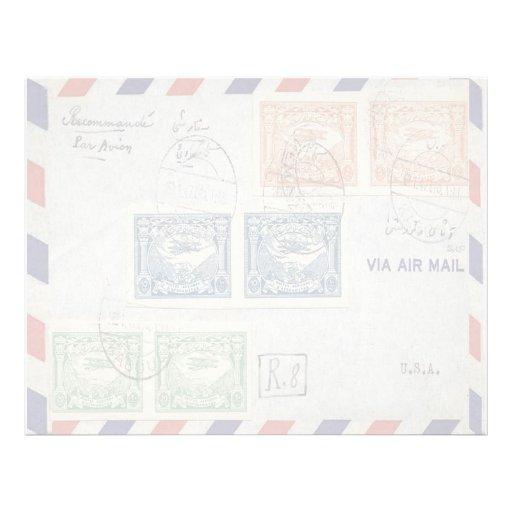 Papel con membrete del sobre del correo aéreo plantillas de membrete