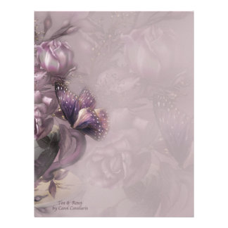 Papel con membrete del té y de los rosas membrete a diseño