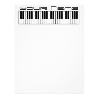 Papel con membrete del teclado de piano inmóvil membrete a diseño