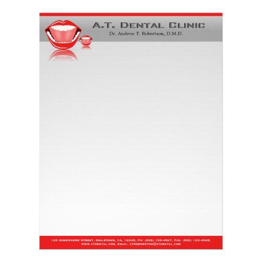 Papel con membrete dental profesional del dentista membrete