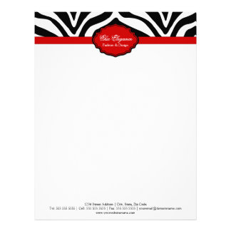 Papel con membrete elegante del estampado de zebra membrete a diseño