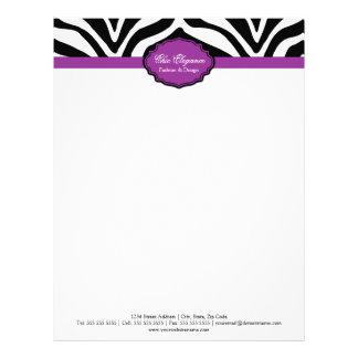 Papel con membrete elegante del estampado de zebra membrete personalizado