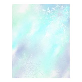 Papel con membrete escarchado de los copos de niev membrete