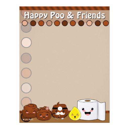 Papel con membrete feliz de Poo y de los amigos Membrete A Diseño