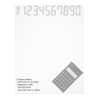 Papel con membrete financiero de la calculadora membrete personalizado