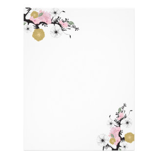 Papel con membrete floral membrete a diseño