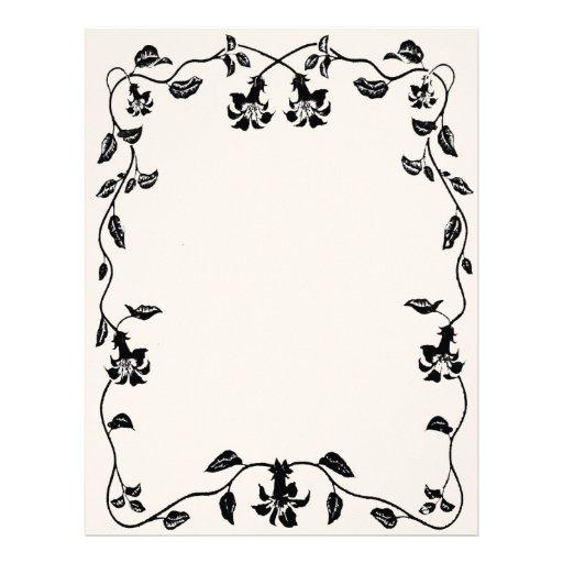 Papel con membrete floral de la vid del vintage membrete a diseño