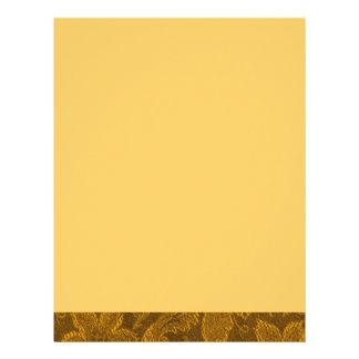 Papel con membrete floral del oro amarillo del vin membretes personalizados