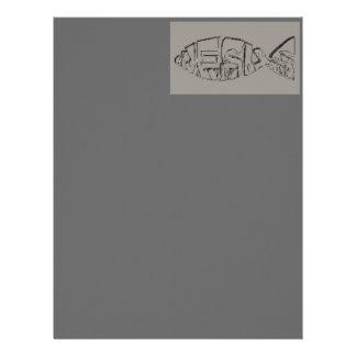 Papel con membrete gris Pescado-Oscuro de Jesús Plantilla De Membrete