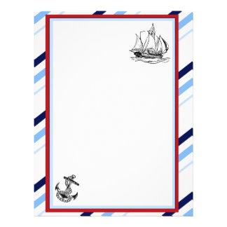 Papel con membrete náutico de la nave y del ancla membrete a diseño