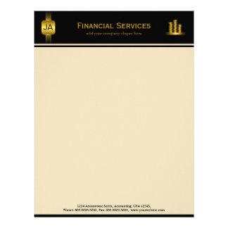 Papel con membrete negro del negocio del contable plantilla de membrete