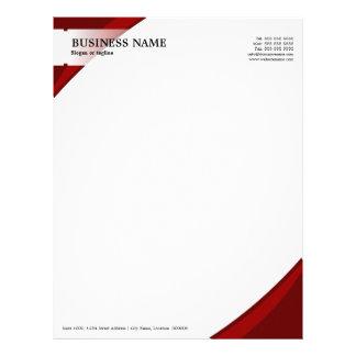 Papel con membrete profesional del rojo del negoci membrete personalizado